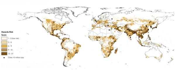 Cities in relation to climate hazards