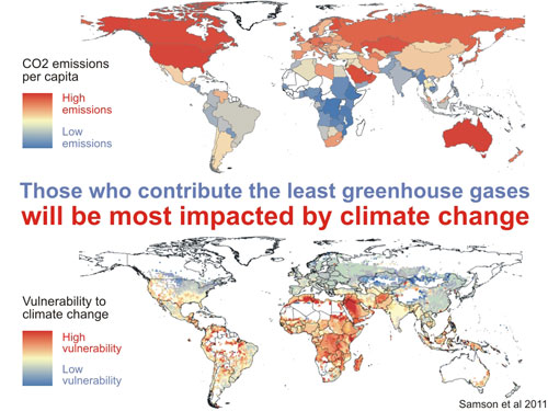 CO2 emissions per capita vs vulnerability. (Image: SkepticalScience, Source: Samson et al. 2011)